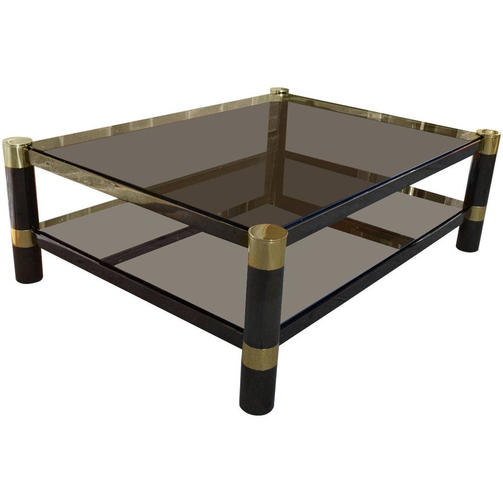 Karl Springer Gunmetal and Brass Coffee Table