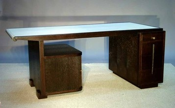 Stained oak desk and chair