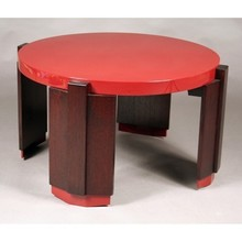 Stained oak and red lacquer table