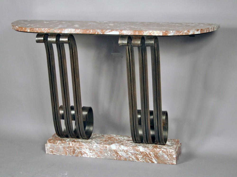 Iron console with Red Belgian Marble top