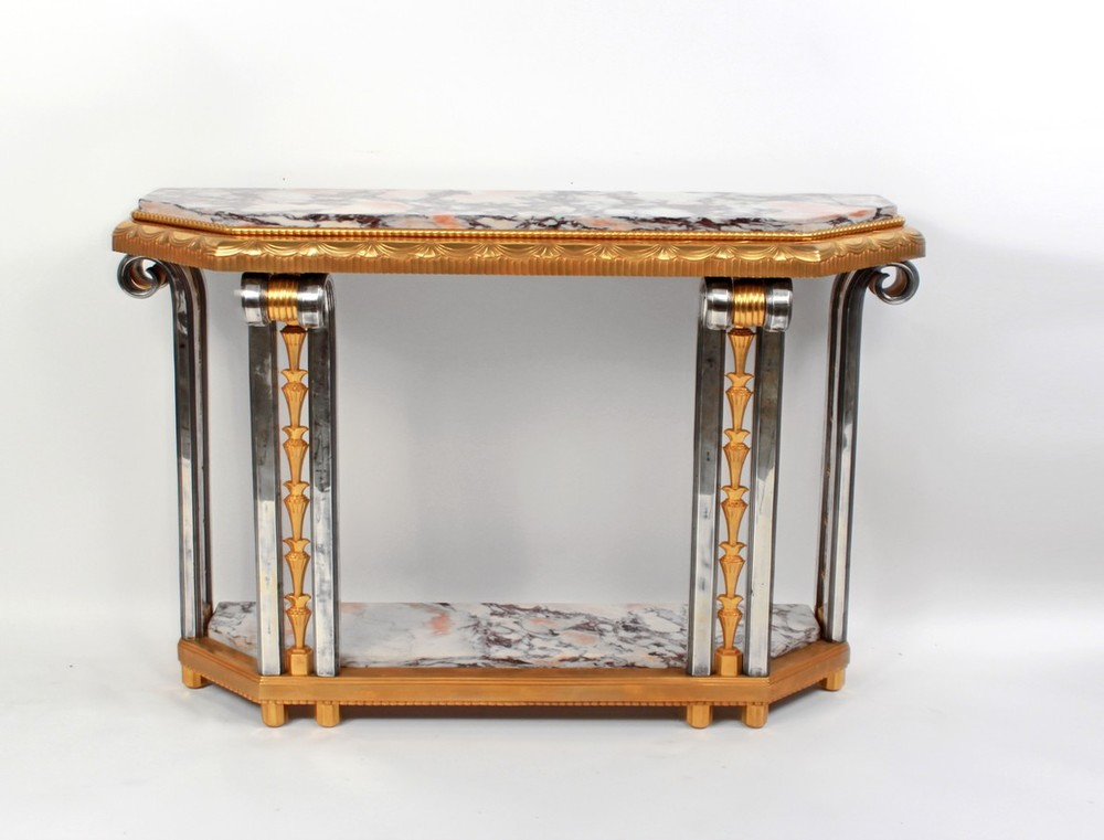 Gilded and Platted Bronze Console