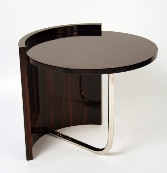 Makassar Ebony and Metal Leg Table