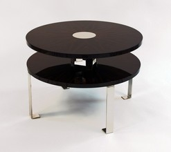 Round Makassar Ebony and Metal Table