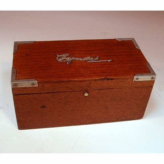 Wood and silver cigarettes box