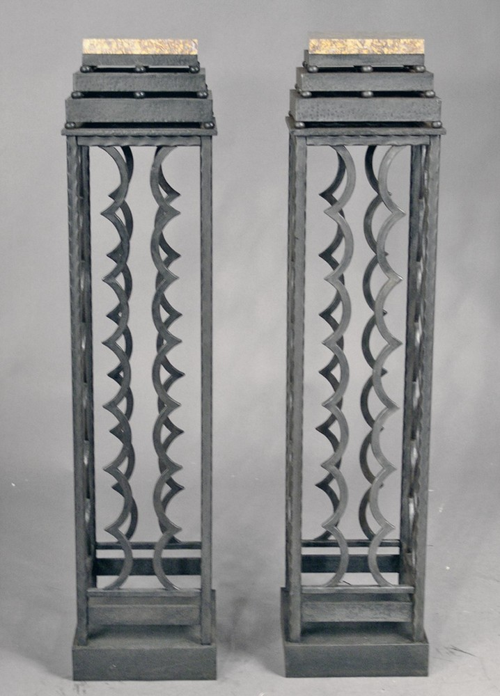 Wrought iron pair of columns