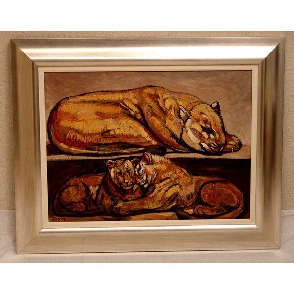 Resting Female lion and Cubs oil