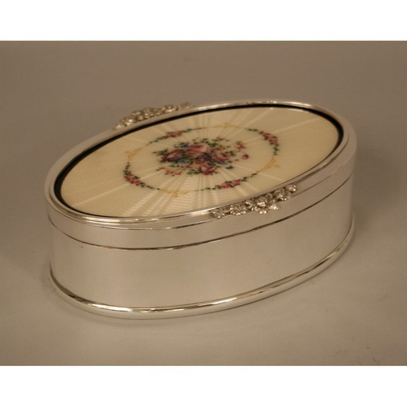 French oval silver box