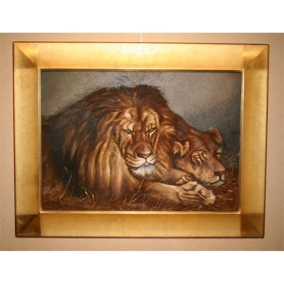Two Lions oil on board