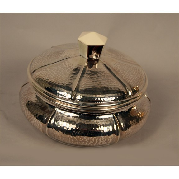 Round Silver Platted  Candy Box