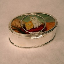 Oval Silver Box with Kitties