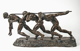 Three Men Pulling on a Rope