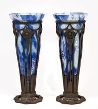 Pair of Blue Glass Blown Into Iron Armatures Vases