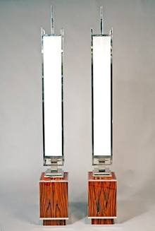 Pair of Torcheres with wood base