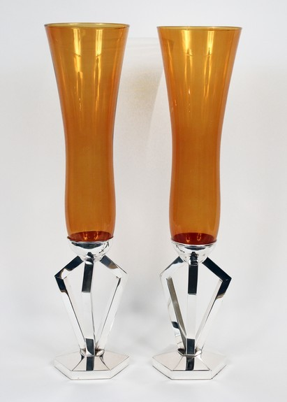 Pair of Amber vases with silver bases