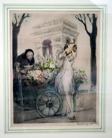 Flower Seller Etching