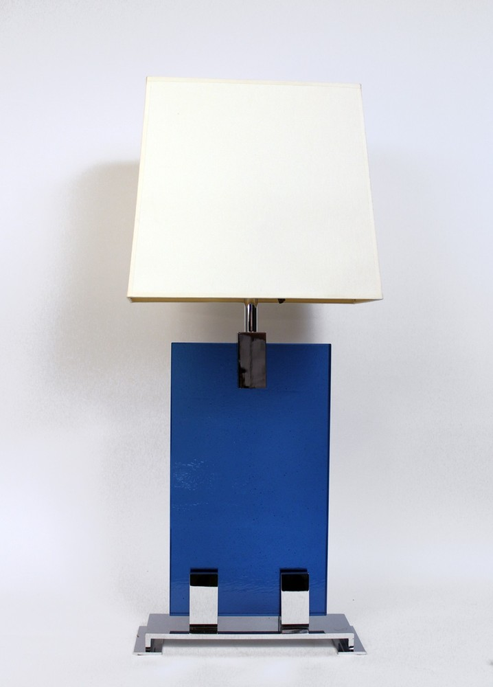 Table lamp with blue glass panel