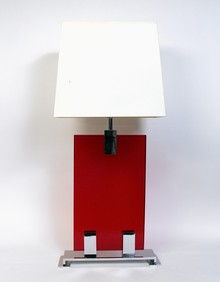 Table lamp with red glass panel