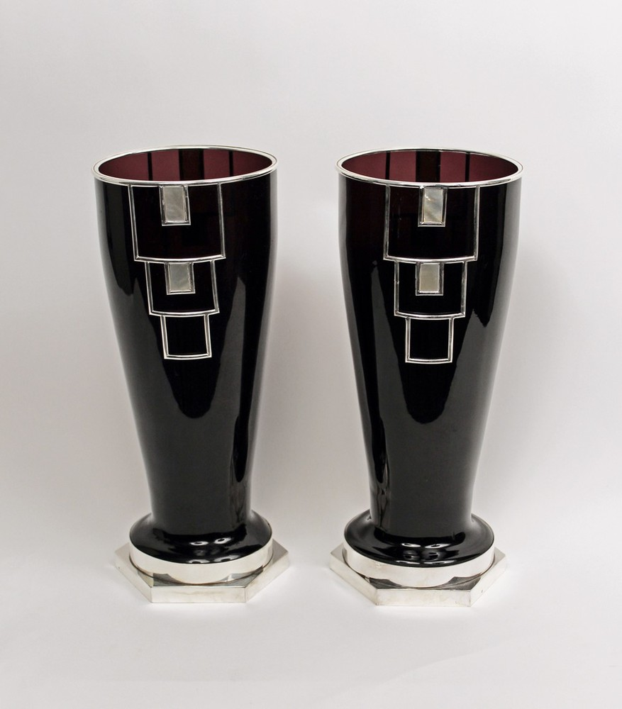 Pair of Black Vases with Silver Armatures