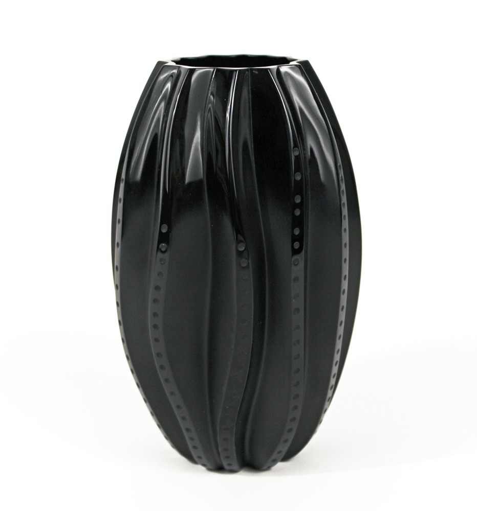 Lalique black Medusa vase