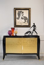 Black lacquer gold leaf doors