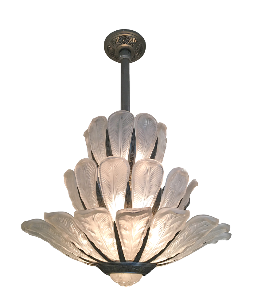 Grand Art Deco Chandelier by Sabino France
